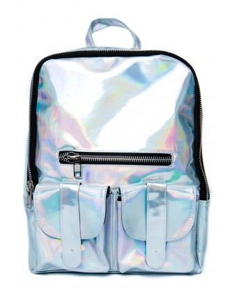 bag holographic holographic backpack silver shinny