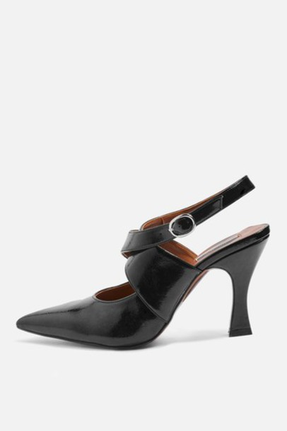 Topshop heel flare shoes black