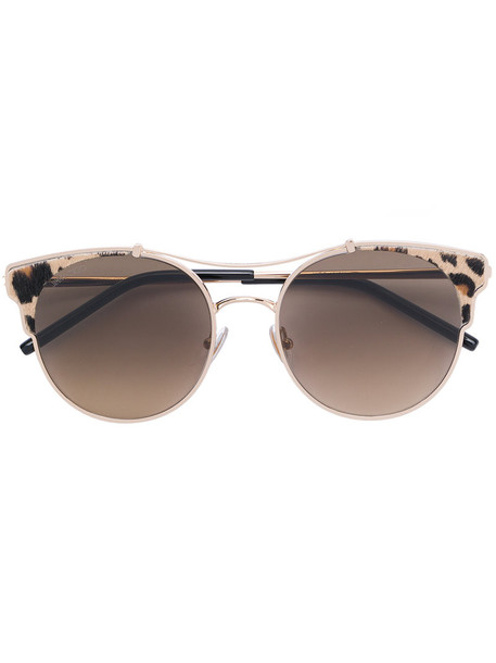 Jimmy Choo Eyewear - leopard print round frame sunglasses - women - Acetate/metal - 59, Brown, Acetate/metal