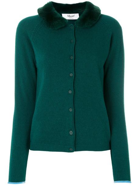 cardigan cardigan fur women wool green sweater