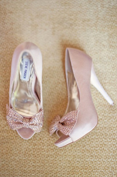 Shoes Bow Heels Blush Pink Steve Madden Special Occasion Wedding