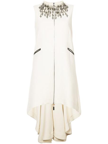 Thomas Wylde dress cross high women spandex embellished high low nude