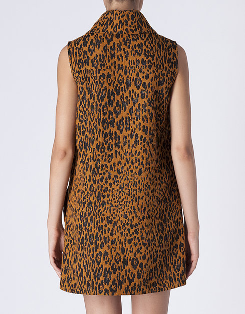 Vestido jacquard leopardo cuello vuelto