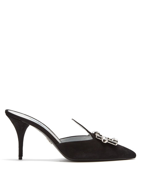 Prada mules suede silver black shoes