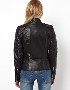Mango | Mango Quilt Detail Leather Jacket at ASOS