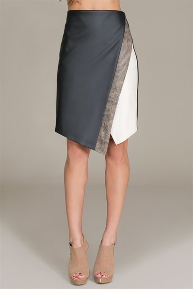 Layered front pu skirt with back zipper
