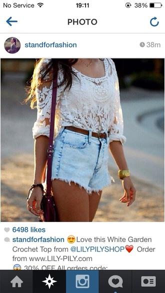 cute blouse top crochet top white white crochet top