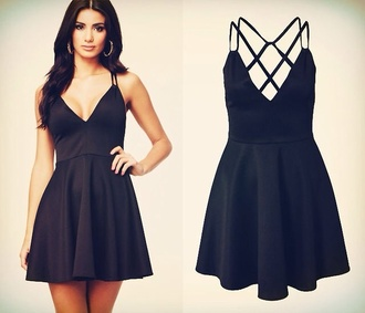 dress black dress little black dress open back black criss cross back