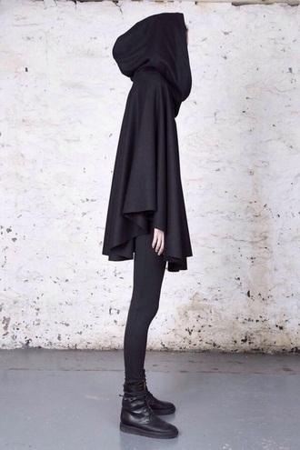 coat black hood cloak