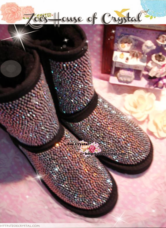 PROMOTION WINTER Bling and Sparkly Strass Tall Black SheepSkin Wool BOOTS w shinning Crystals