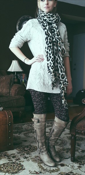 leggings floral leggings tights aldo garage brand shoes outfit cute sweaters sweater highboots scarf