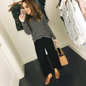 dress corilynn blogger top shoes bag striped top handbag loafers black pants spring outfits