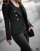blazer,black blazer,blouse,black blouse,jeans,black jeans,bag,black bag,jacket