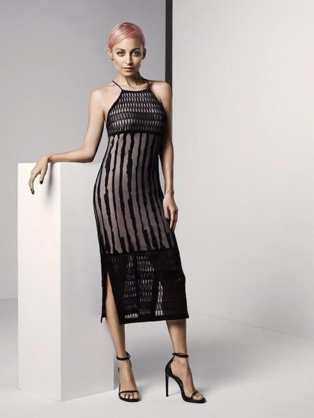 Dress Midi Dress Nicole Richie Sandals Sheer See Through Dress