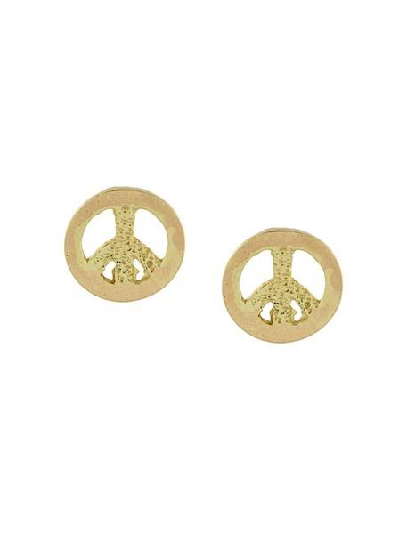 Carolina Bucci women peace earrings gold grey metallic jewels