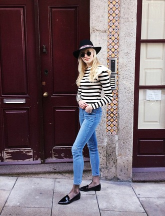 top ruffle shoes black shoes flats striped top stripes jeans blue jeans skinny jeans