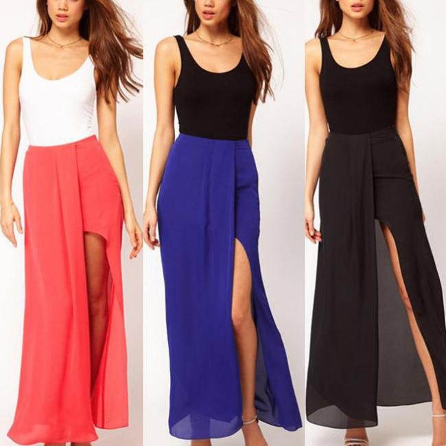 Womens Boho Open Side Split Skirt Summer Chiffon Long Maxi Skirt s ...