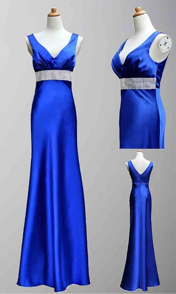 evening dress long prom dresses long formal dress V-neck dress satin dress blue dress trumpet dress