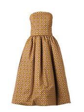 dress,elda round-print strapless dress,stella jean,mustard,patterned dress,midi dress,mustard dress