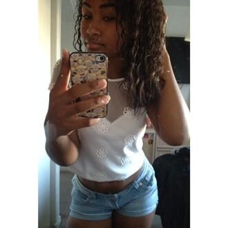 _sierranichail curly hair white top shorts mesh mesh top jean shorts denim denim shorts tumblr shorts summer outfits summer shorts lace top top cute denim shorts short shorts