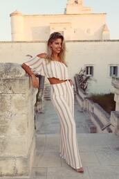pants,top,tumblr,wide-leg pants,stripes,striped pants,crop tops,off the shoulder,off the shoulder top
