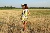 dress,mini dress,ruffle dress,zaful,lemon print dress,blogger,blogger style