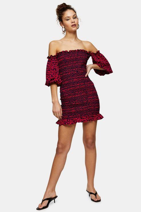 Heart Print Shirred Bardot Dress - Multi
