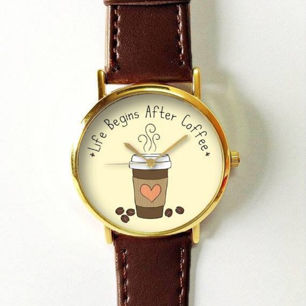 Coffee Watch Watches For Men Women Leather Watch Ladies