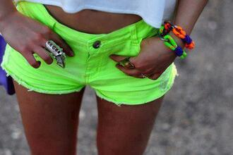 shorts neon green short neon yellow neon green jewels
