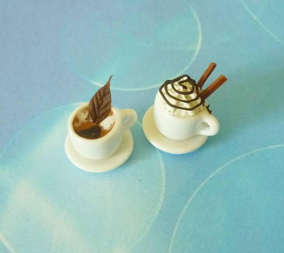 Mini coffee cup set 2 mini coffee wafer sticks whipped cream -ceramic cup -miniature drinks -dollhouse miniatures -1 12 scale
