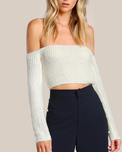 Top Girly Cream White White Top Sweater Off The Shoulder Off