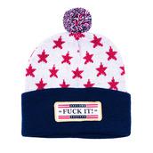 stars,white,blue,red,pom pom,hat