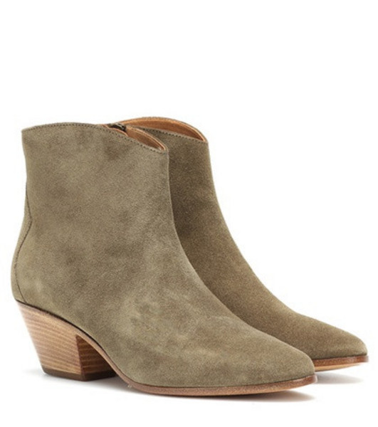 Isabel Marant Dacken suede ankle boots in green