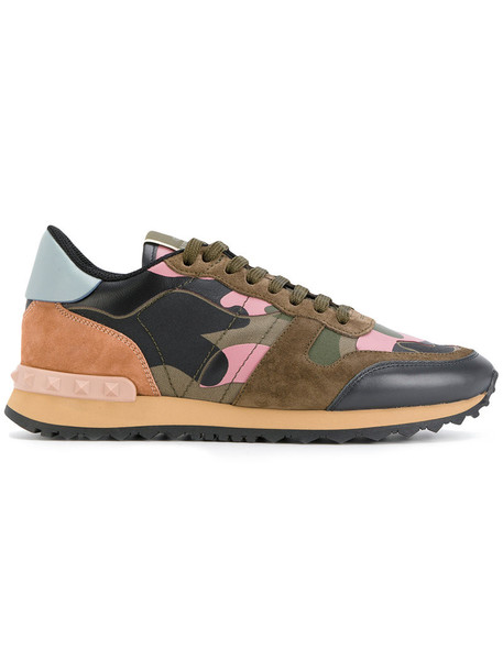Valentino women camouflage sneakers leather cotton suede green shoes
