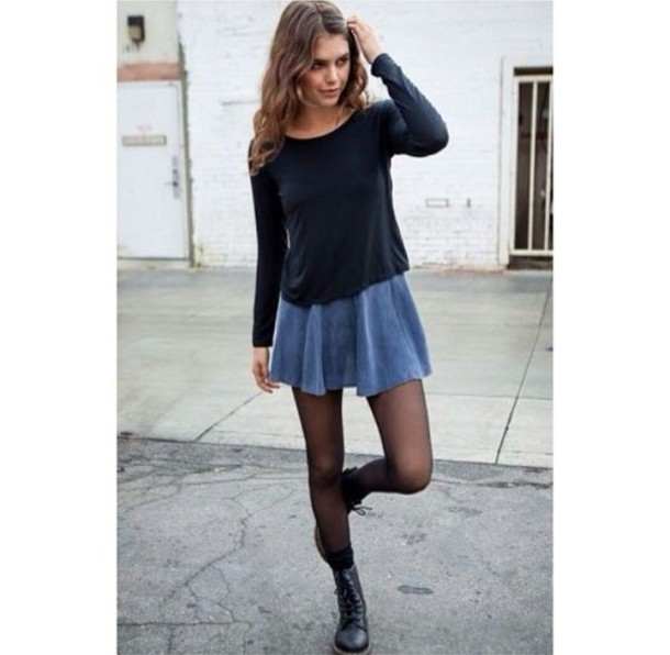 Sweater: black, long sleeves, denim skirt, denim skirt fashion ...