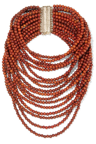 Rosantica - Arizona Gold-tone Beaded Necklace - Brown
