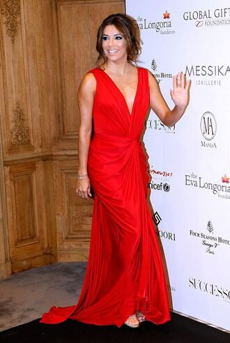 dress prom dress gown red dress eva longoria plunge v neck