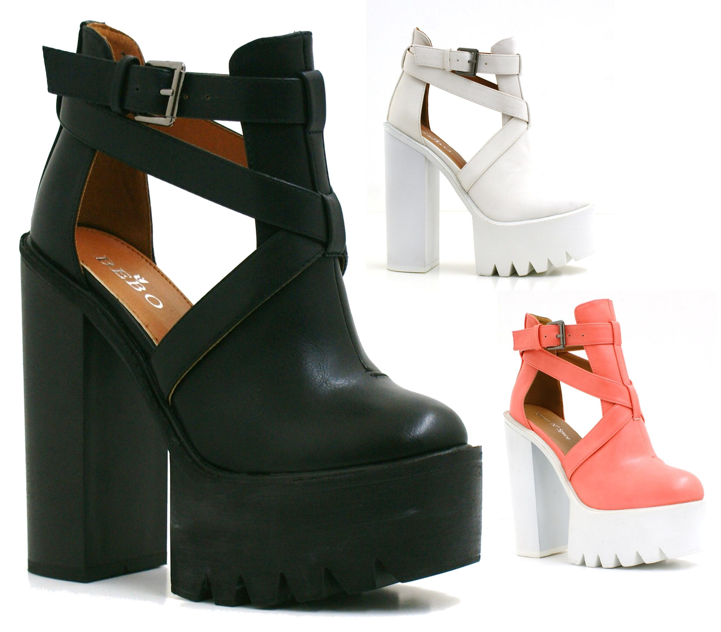 Chunky Heel Cut Out Boots