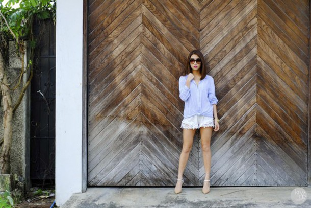 kryzuy blogger crochet shorts blue shirt