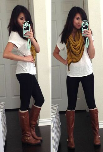 phone cover leggings boots fashion style cellphone case t-shirt scarf cognac