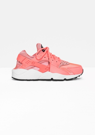 shoes coral pink sneakers bright sneakers nike sneakers huarache