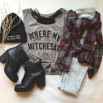 shoes boots flannel shirt beanie jeans grunge blouse cardigan mid heel boots
