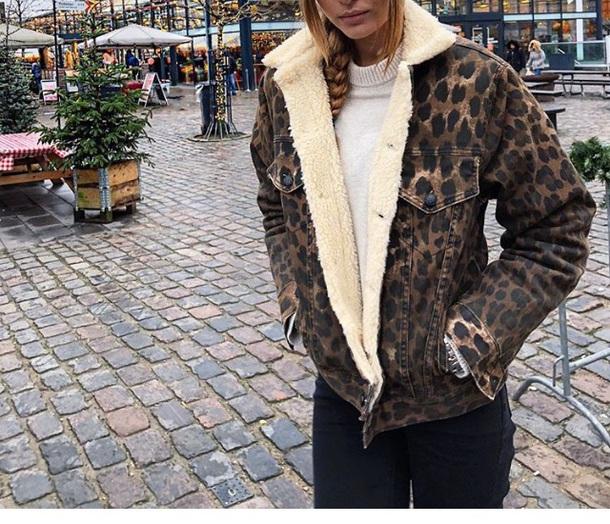 jacket brown fur animal jeans cheeta animal print denim
