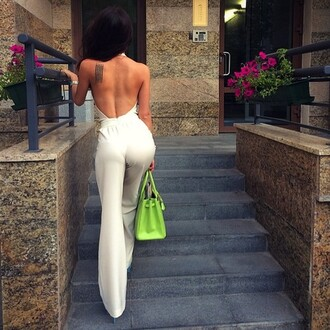 jumpsuit backless jumpsuit white jumpsuit open back backless palazzo jumpsuit bag green bag neon bag neon date outfit summer outfits