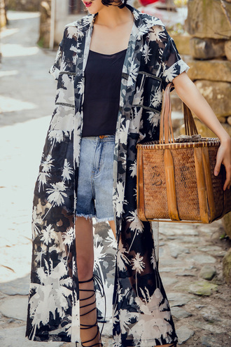 cardigan kimono black and white summer spring trendy fashion style dezzal