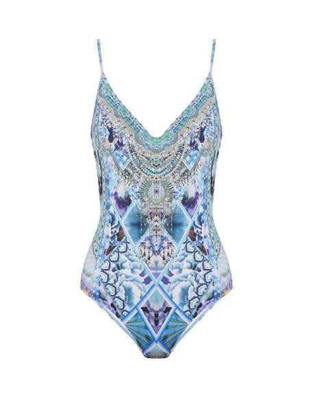 Camilla back print blue swimwear
