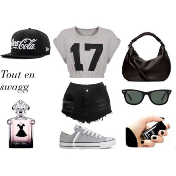 cute converse hipster bag sunglasses top nail polish add my on instagram @lexi_lynn22 snapback crop tops perfume black shorts hood cool girl style sexy instagram