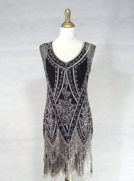 dress charleston vintage inspired black beaded