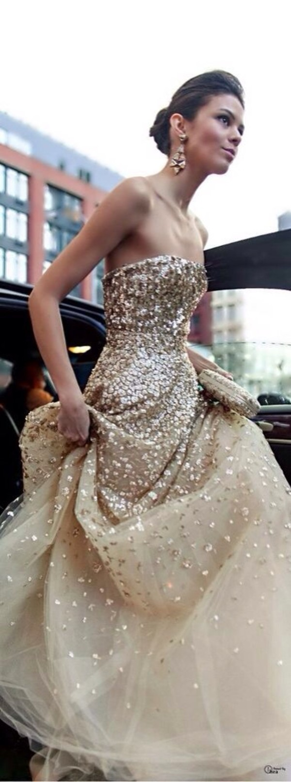 dress glitter gold pretty cool funny cute likeforalike like amazing glitter dress sequins prom dress prom sparkle tulle skirt gold strapless prom gold dress