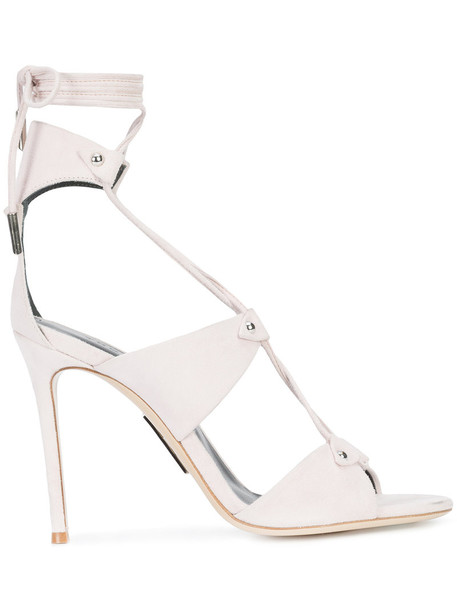 Thomas Wylde lace up sandals women sandals lace nude suede shoes